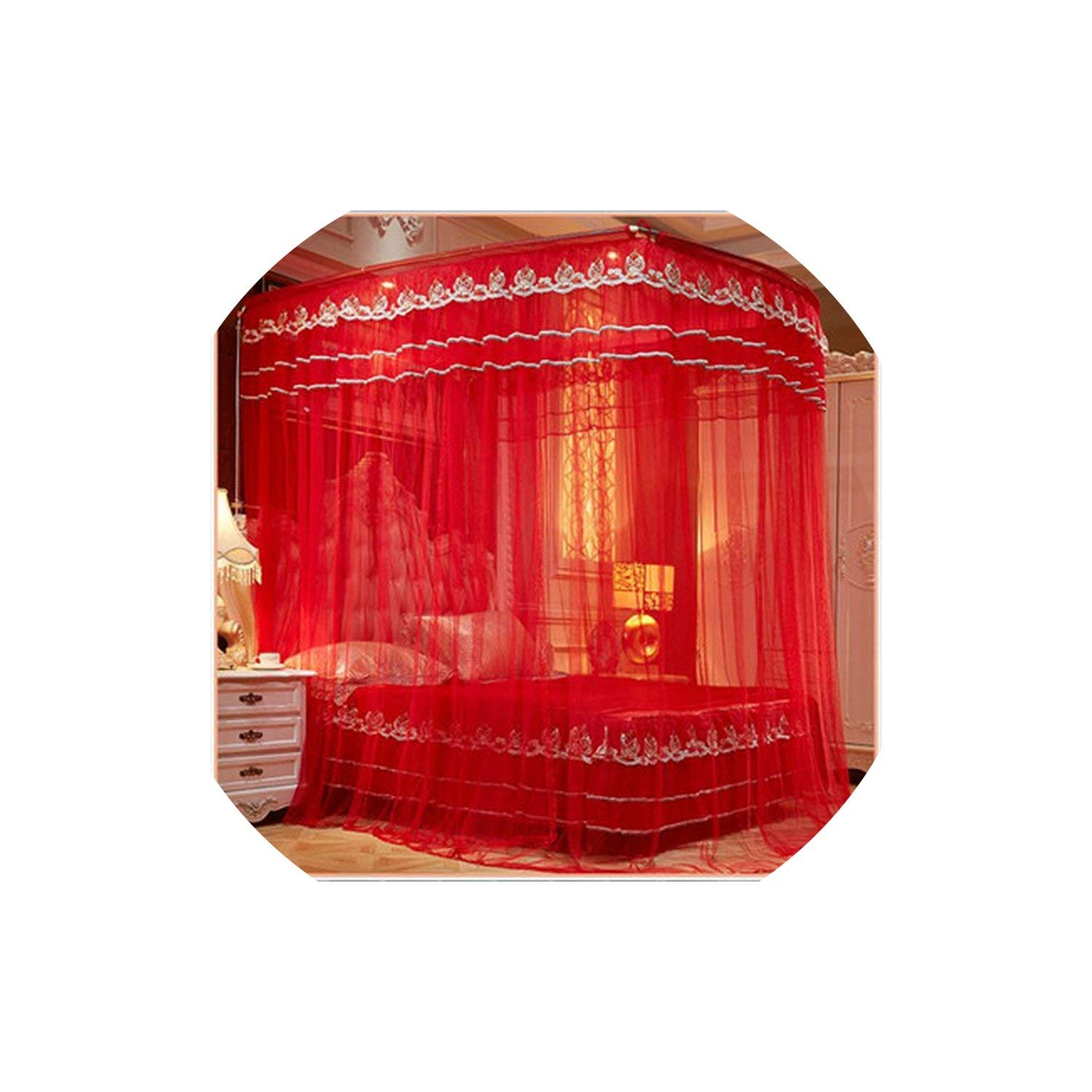 Fishing Rod Retractable Three Door Palace Mosquito Net Floor Standing Anti Mosquito Wedding Nets,Wedding Red Color,1.8Mwx2Mlx2.1Mh by special shine-shop mosquito net (Image #1)
