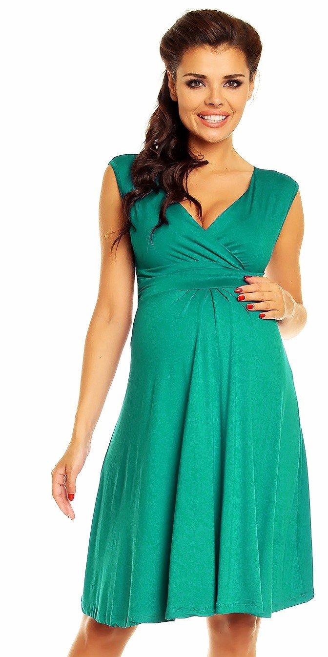 Zeta Ville Women's Maternity Breastfeeding Flattering Summer Skater Dress 256c (Teal, US 4, S)