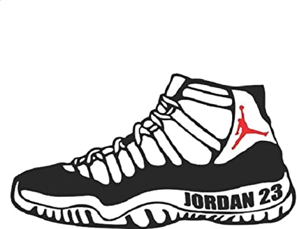 Jordan Retro 11 Shoe Sneaker Flight 23 Michael Basketball NBA Logo Vinyl Decal Sticker - Car Window, Laptop, Wall, Mac (5.5