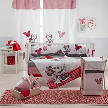 Amazon.com: [Disney Red Minnie Mouse] Crib Bedding Set (4PC ... : minnie mouse cot quilt - Adamdwight.com