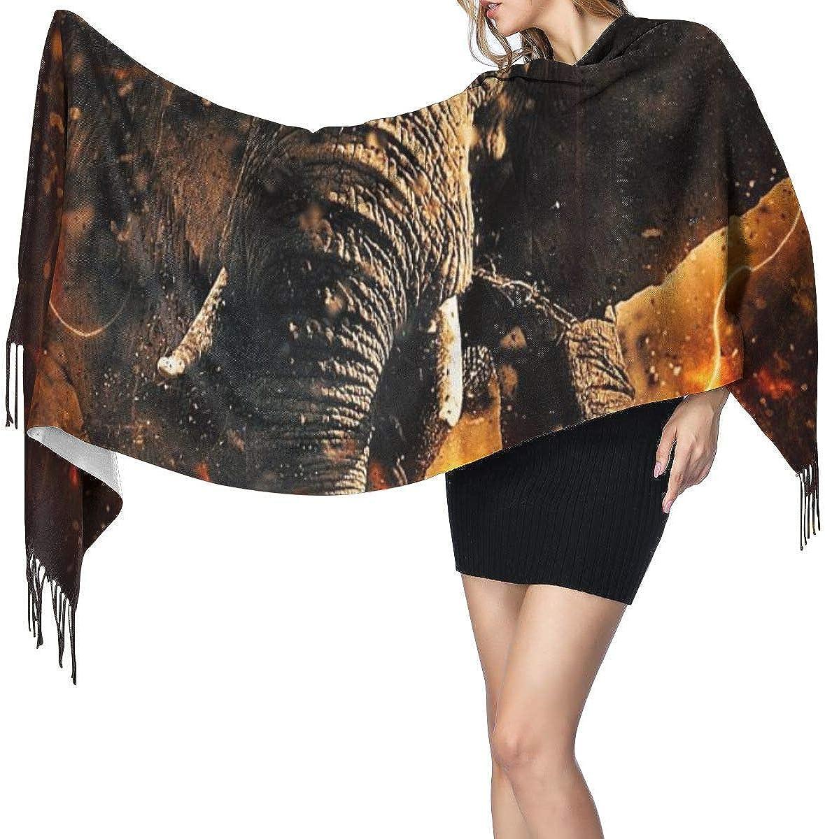 Bufanda de mantón Mujer Chales para, Elefante africano Moda mujer fresca Mantón largo Invierno Cálido Bufanda grande Bufanda de cachemira