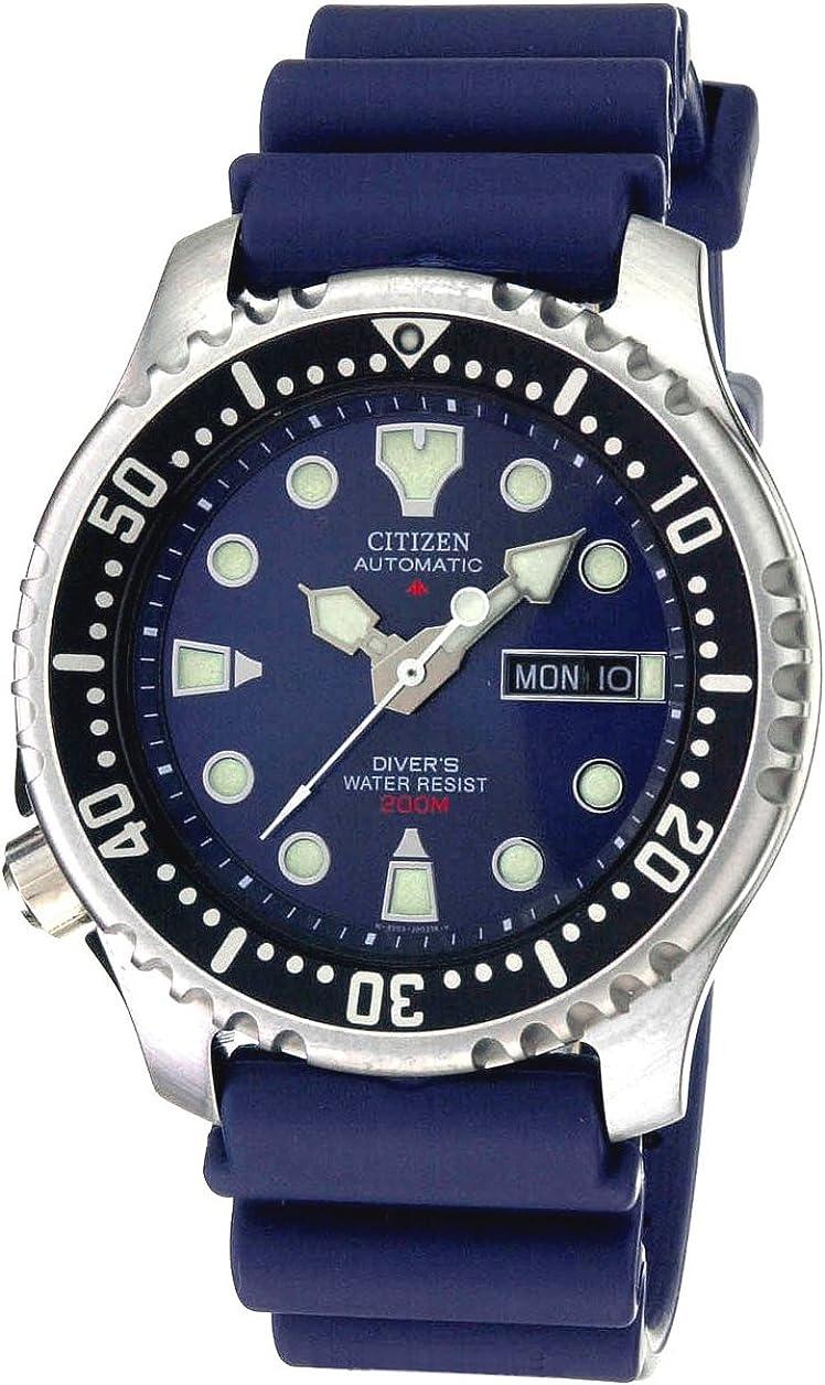 Citizen NY0040-17L - Reloj analógico automático para Hombre, Correa de Poliuretano Color Azul