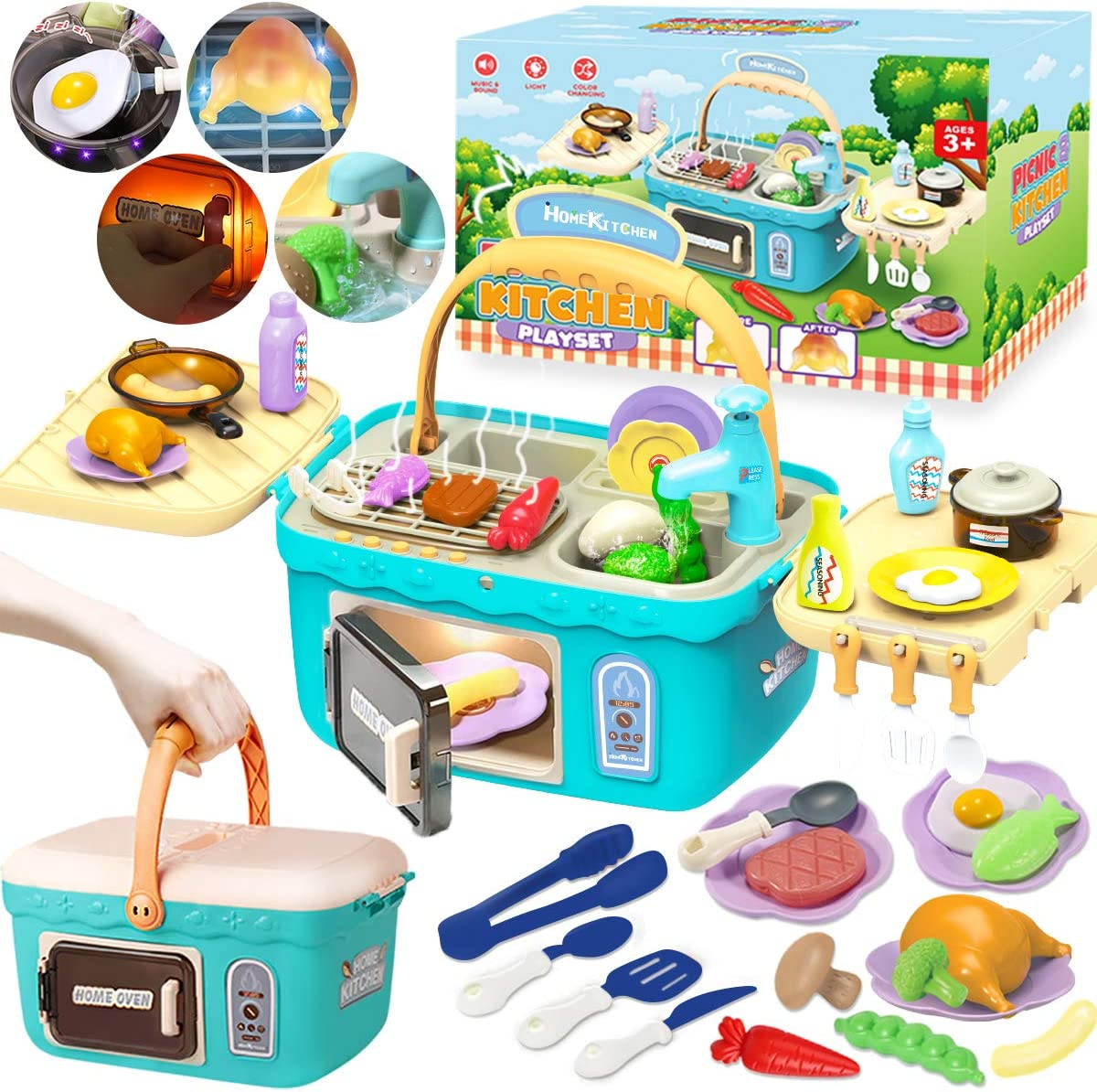 Cheffun Play Kitchen Set toys for Kids - Educational Pretend Play Camping Picnic BBQ Sink Toy Cooking Grill Basket with Musical Light Color Changing Food for Toddlers Age 3 4 5 6 7 Year Old Girls Boys