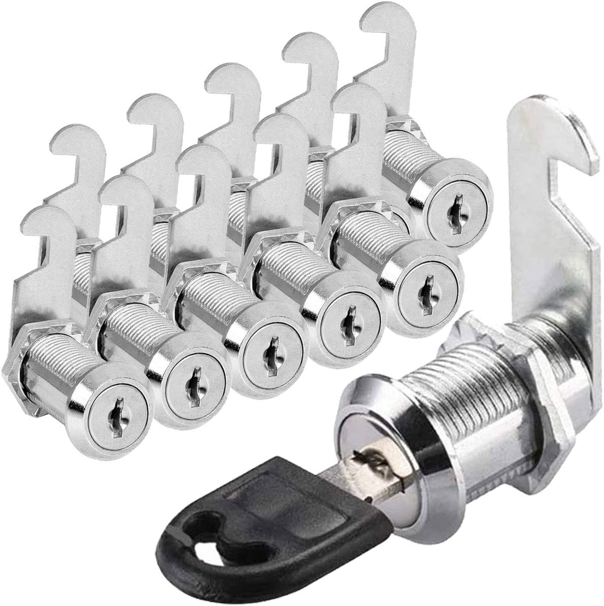 10 Pack Cam Locks Keyed Alike, 1-1/8 Inch (30mm) File Cabinet Drawer Mailbox RV Door Cylinder Lock Replacement, Chrome-Plated Zinc Alloy Safety Lock fits on 1