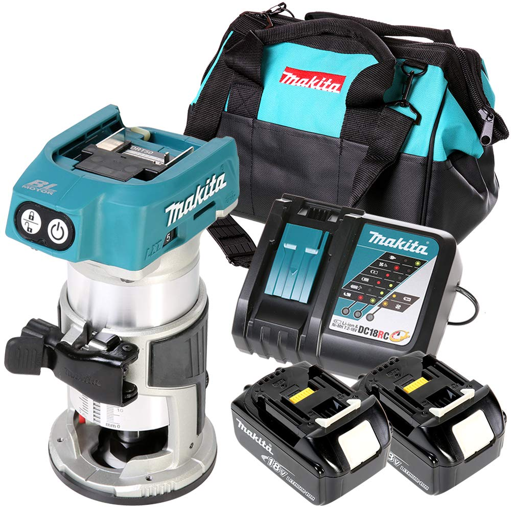 Makita DRT50 18V Brushless Router/Trimmer with 2 x 3Ah Batteries, Charger & Bag