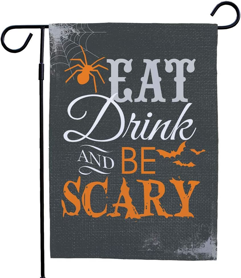 Details about  /Eat Drink And Be Scary Garden Flag Bat Halloween Banner Outdoor Yard Decor #12
