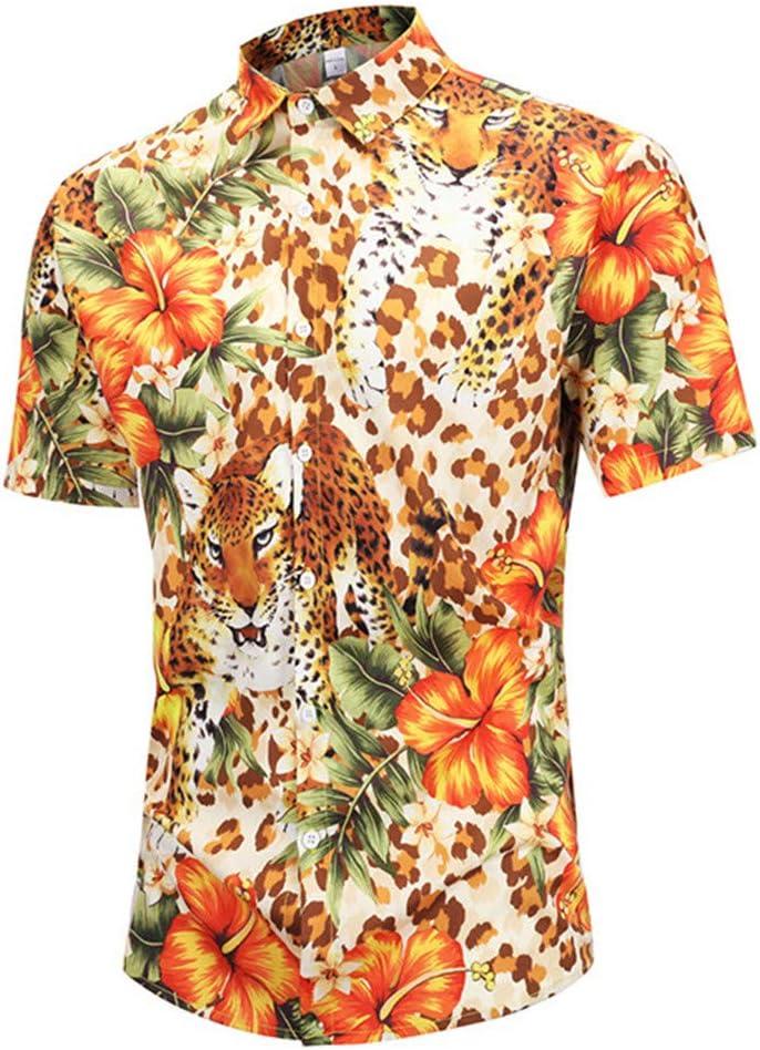 LUCKGXY Hombres 3D impresión Camisas, Animal Print luz Transpirable de Gran tamaño Stand Collar Camiseta Verano Ocio Playa Surf Tank Tops,M: Amazon.es: Hogar