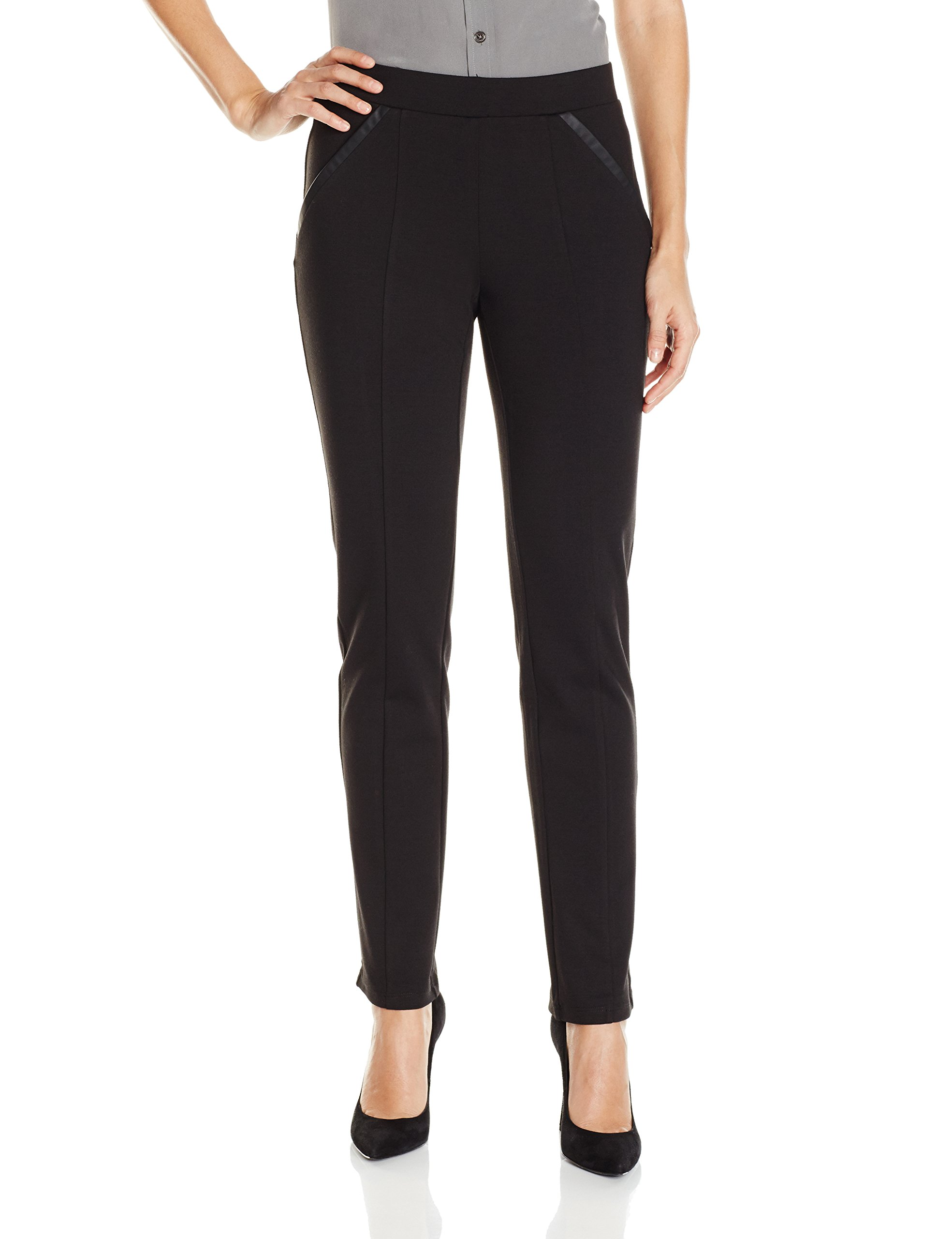 Rafaella Women's Ponte Comfort Fit Slim Leg Pants, Black, 8 by Rafaella