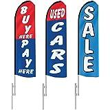 EZ Line Used Car Dealership Swooper Feather Flag 15ft Auto Sales 3 Flag Dealer Pack