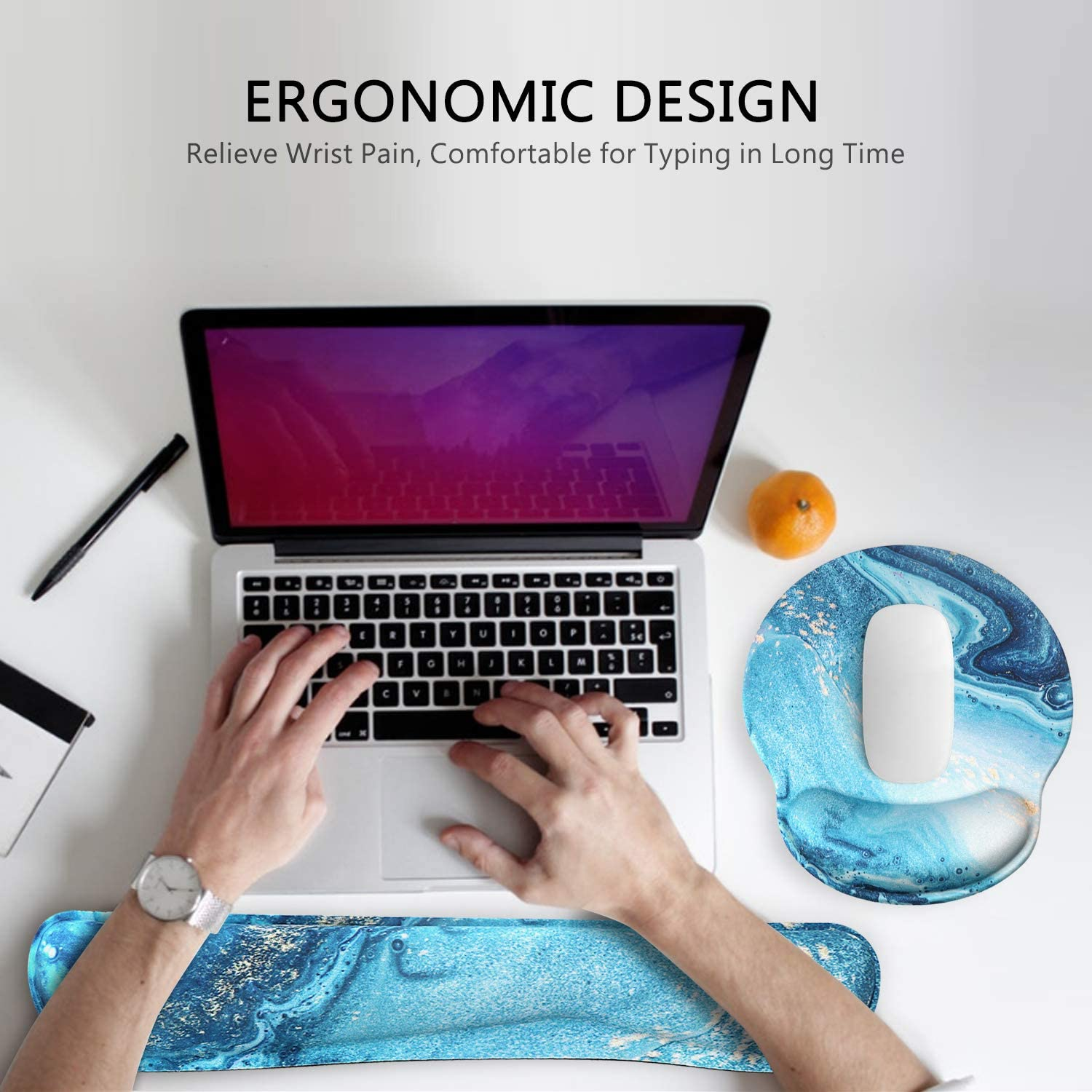Easy-Typing and Pain Relief for Gaming Office Computer Laptop HAOCOO Ergonomic Mouse Pad Wrist Support and Keyboard Wrist Rest Set with Non-Slip Backing Memory Form-Filled Pink Hyacinth