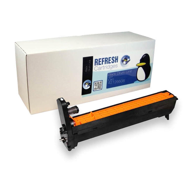 Refresh cartuchos remanufacturados cartuchos tinta de tinta cartuchos de repuesto para OKI 42126608 sólido (negro tambor) 7a5f0e