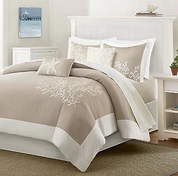 5 Teilig Mit Aufgesticktem Coral Seestern Motiv Bettbezug Set Full/Queen  Size, Mit