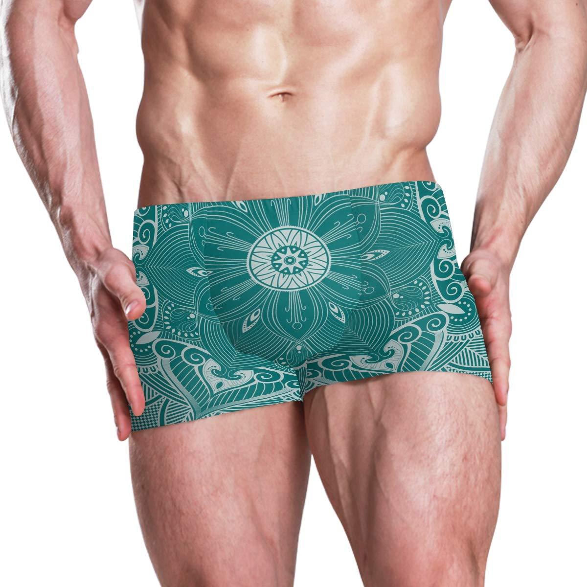 Huangwei Mandala Flower Indian Boho Mens Swimming Boxer Briefs Trunks Square Leg Swim Trunks Board Shorts