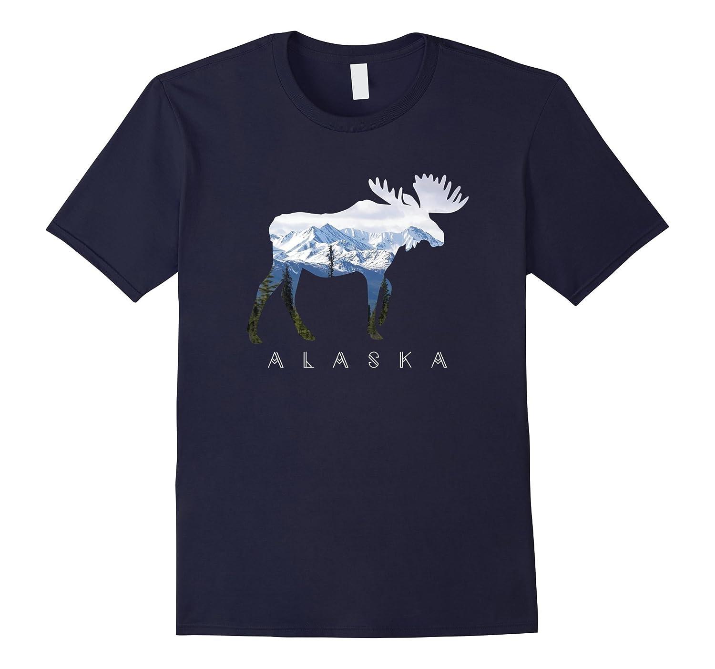Alaska Day Moose Snowy Mountain T-Shirt-FL