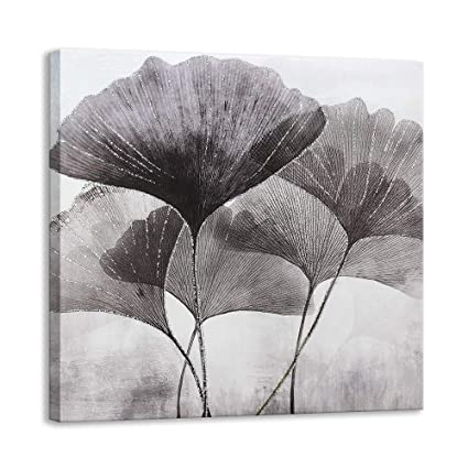 Amazon Com Kas Home Ginkgo Leaves Plant Canvas Wall Art Silver