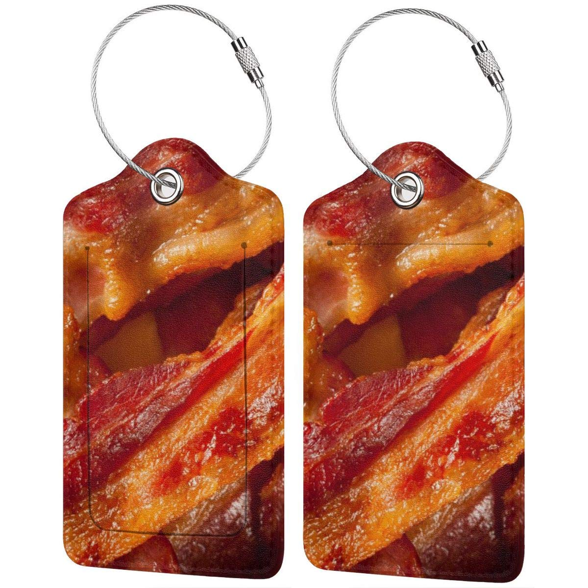 Bacon Travel Luggage Tags With Full Privacy Cover Leather Case And Stainless Steel Loop