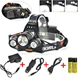 Boruit 3x XM-L2 T6 LED Beads 5000 Lumens Headlamp 4 Modes with Rechargeable Batteries ,Wall & Car Charger ,USB Charging Cable for Camping,Hiking,Reading,Bike,Hunting&Fishing Lighting