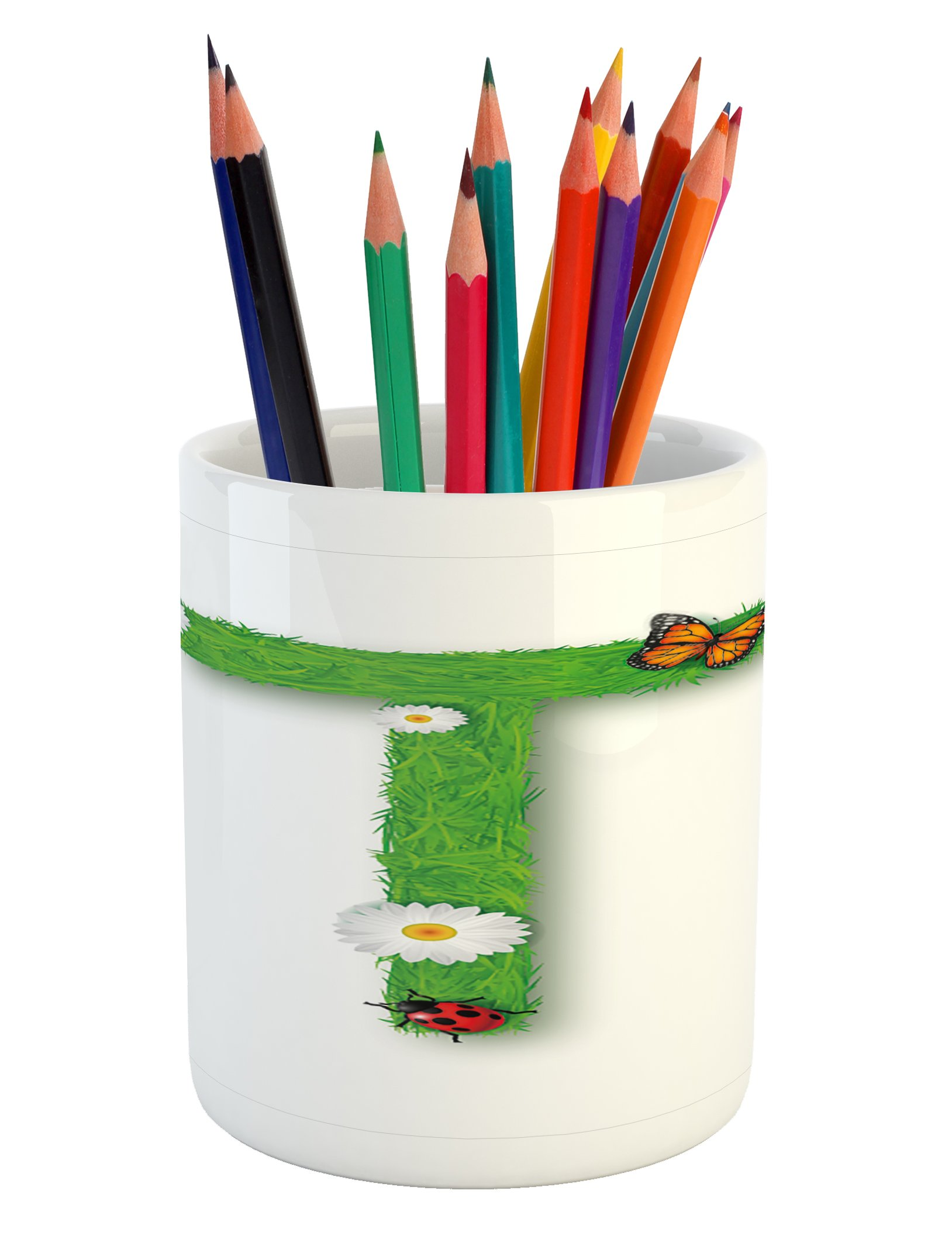 Ambesonne Letter T Pencil Pen Holder, Caps T with Flourishing Fragrance Botanical Design and Ladybug Girls Room, Printed Ceramic Pencil Pen Holder for Desk Office Accessory, Green Multicolor