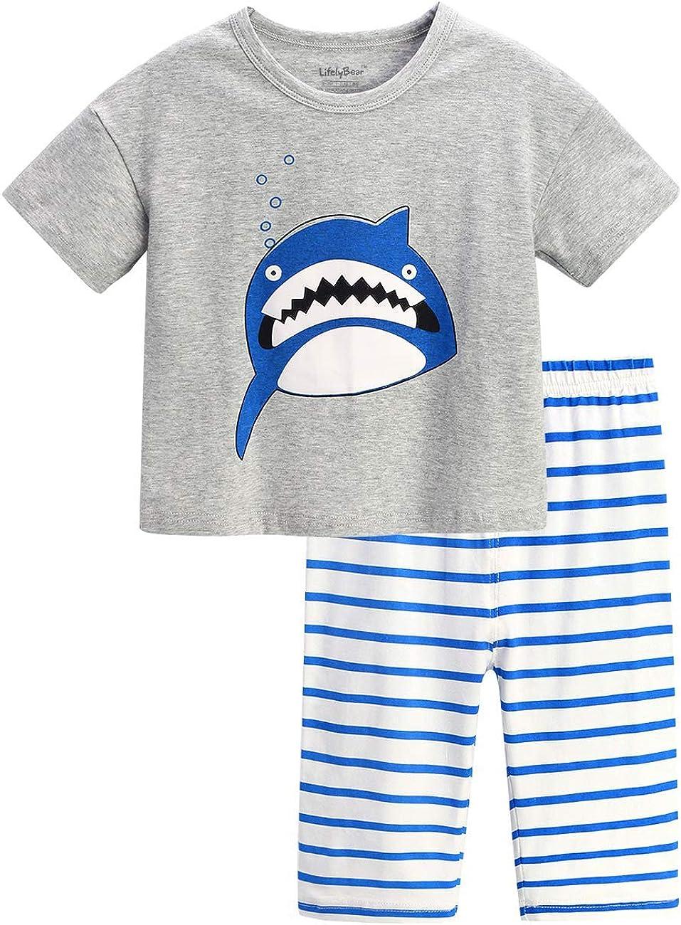 Kids Pajamas Children Pajamas for Boys Girls Unisex Cotton Pjs Summer Sleepwear Set Size 2T 3T 4 5 7 8