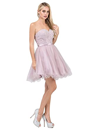 b8d15c9ff211b Dancing Queen 3014 Strapless Embellished Sweetheart Homecoming Dress in  Dusty Pink