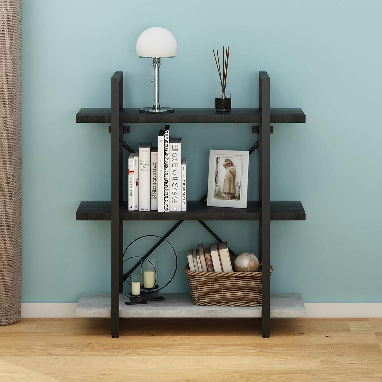 "O&K Furniture 3-Tier Bookshelf, Industrial Style Bookcase, Open Etagere Bookcase, 40""H x 35.4""W x12.6""D"