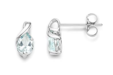 Miore Earrings Women studs Aquamarine with Brilliant Cut Diamonds White Gold 9 Kt/375 wtoBSFX