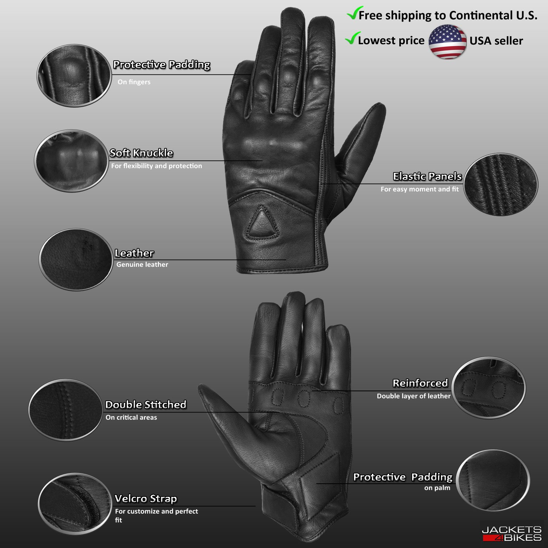 Men's Premium Leather Street Motorcycle Protective Cruiser Biker Gel Gloves L by Jackets 4 Bikes (Image #3)