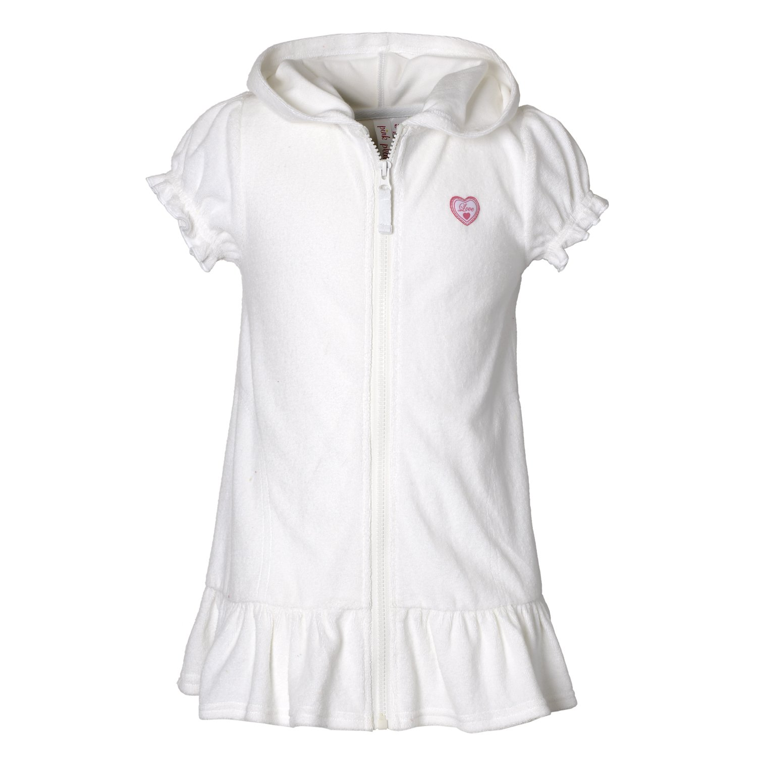 Pink Platinum Girls Terry Hooded Swim Cover-Up Dress with Zipper PP789266-BLUFISH-2T