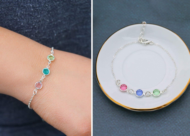 Simple Birthstone Silver Bracelet DII QQQ Mom Grandma Present Birthday Gift Minimalist Handmade Jewelry Choose Crystal Color Fast 1 Day