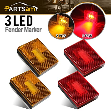 Partsam 4 Pcs(2Amber 2Red) Square LED Trailer Side Marker Light with  Reflector Stud Mount 3LED, 2-4/5
