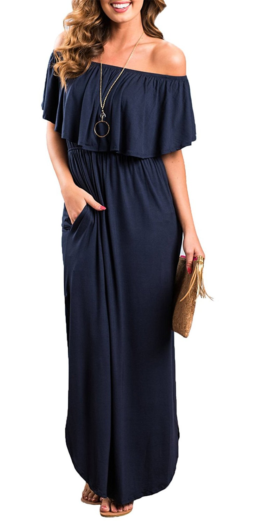 Happy Sailed Women Off The Shoulder Ruffle Pockets Casual Dress Side Split Beach Maxi Dresses X-Large Navy