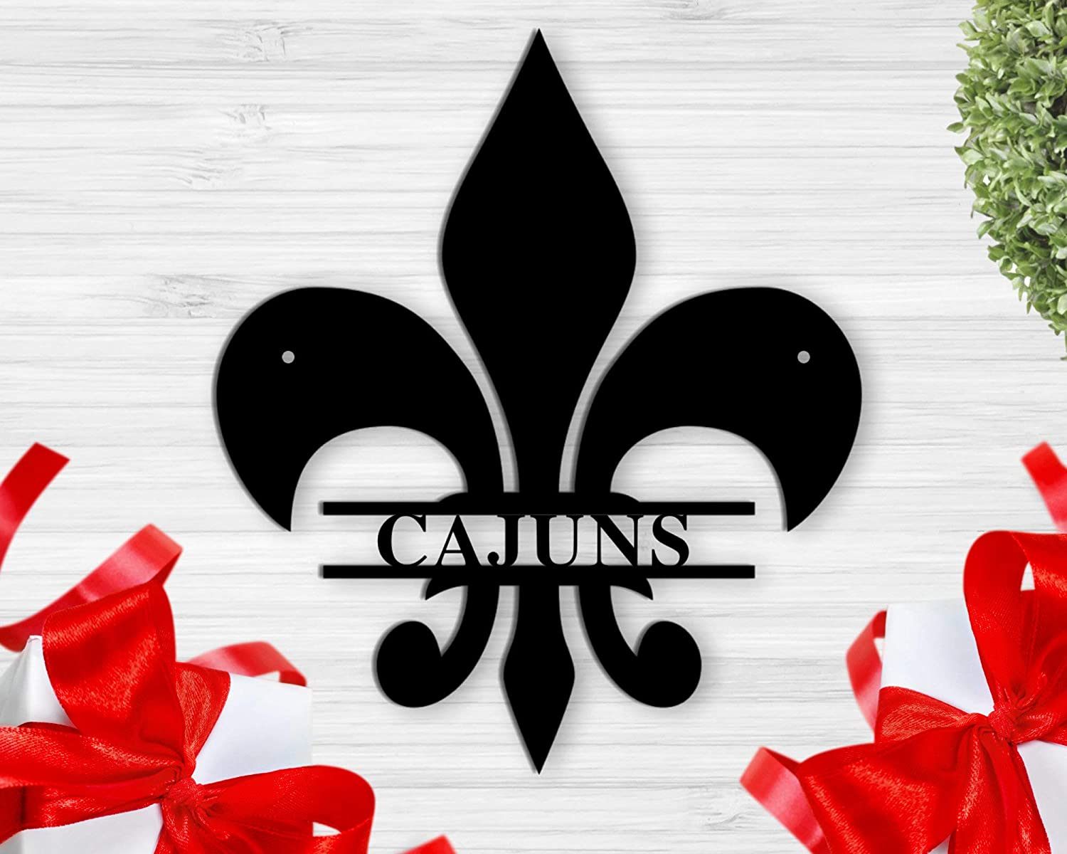 Tamengi Fleur De Lis Customized Sign, Personalized Metal Sign Wall Hanging Wall Address Plaque Room Decor Monogram Wall Art Outdoor Indoor Metal Sign 18inch