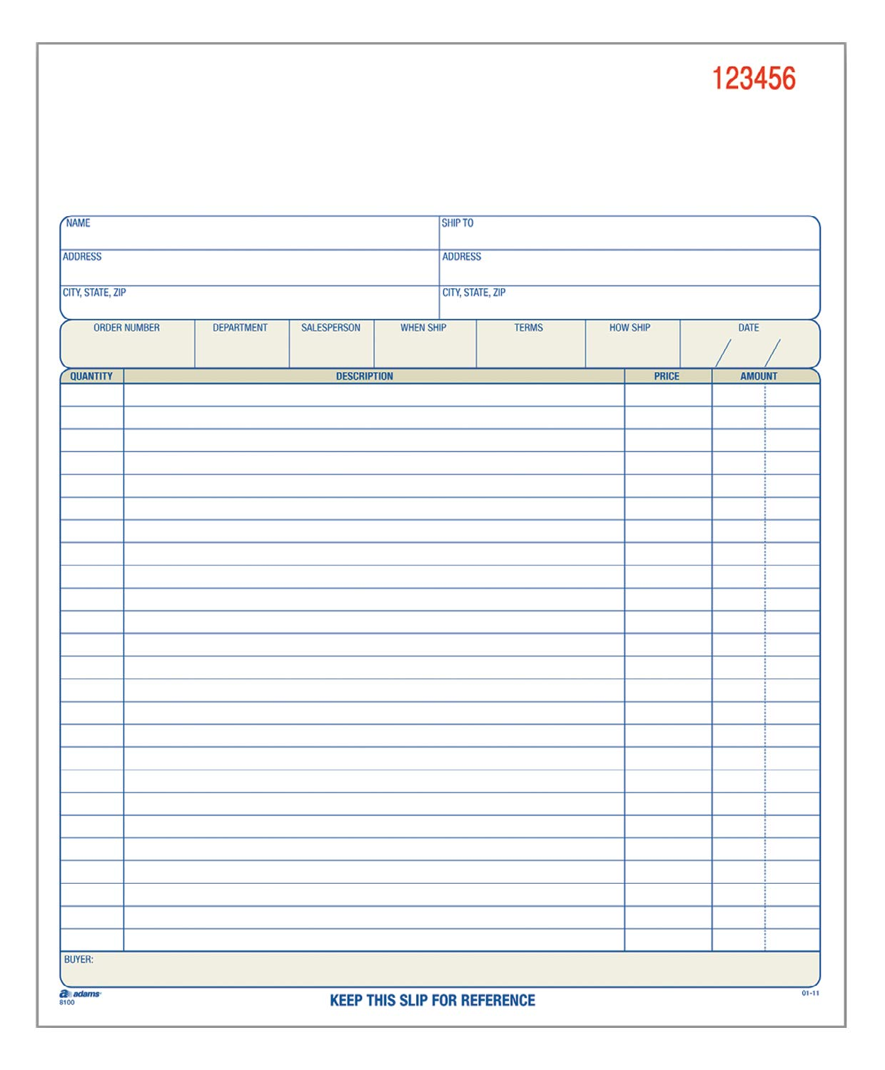 Adams Order Book, 8.38 x 10.69 Inch, 3-Part, Carbonless, 50 Sets, White, Canary, Pink (TC8100)