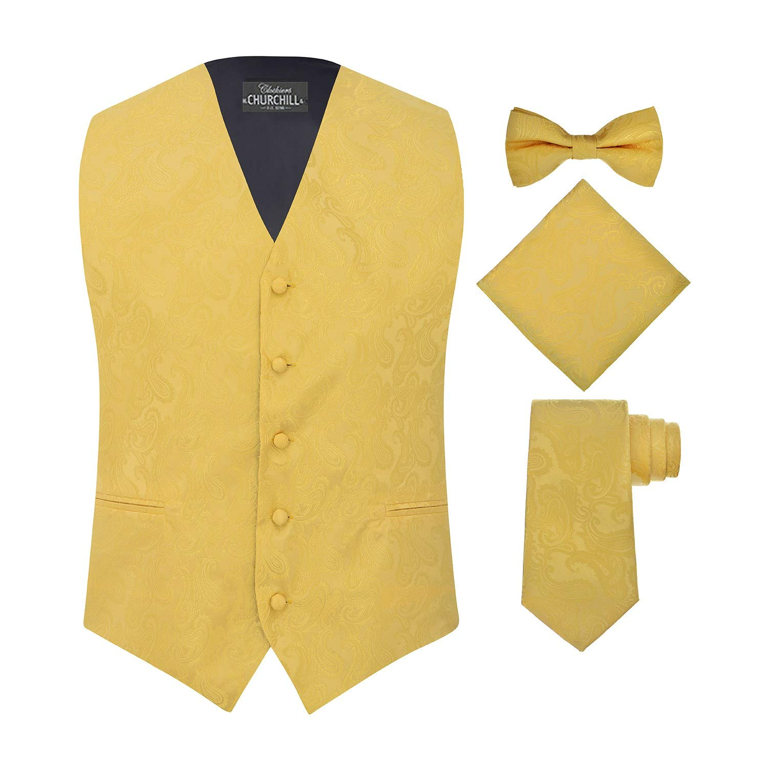 0f03ea0ed3b0 Men's 4 Piece Paisley Vest Set, with Bow Tie, Neck Tie & Pocket Hanky - XL,  Gold at Amazon Men's Clothing store: