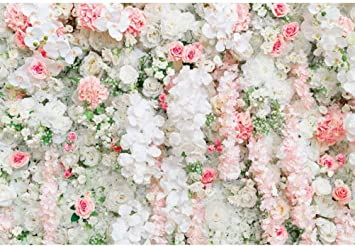 DaShan 14x10ft Floral Wall Backdrop Wedding Bridal Shower Women Girls Flower Birthday Photography Background Stone Wall Newborn Baby Decor Valentines Day Mother Girl Flower Wall Photo Props
