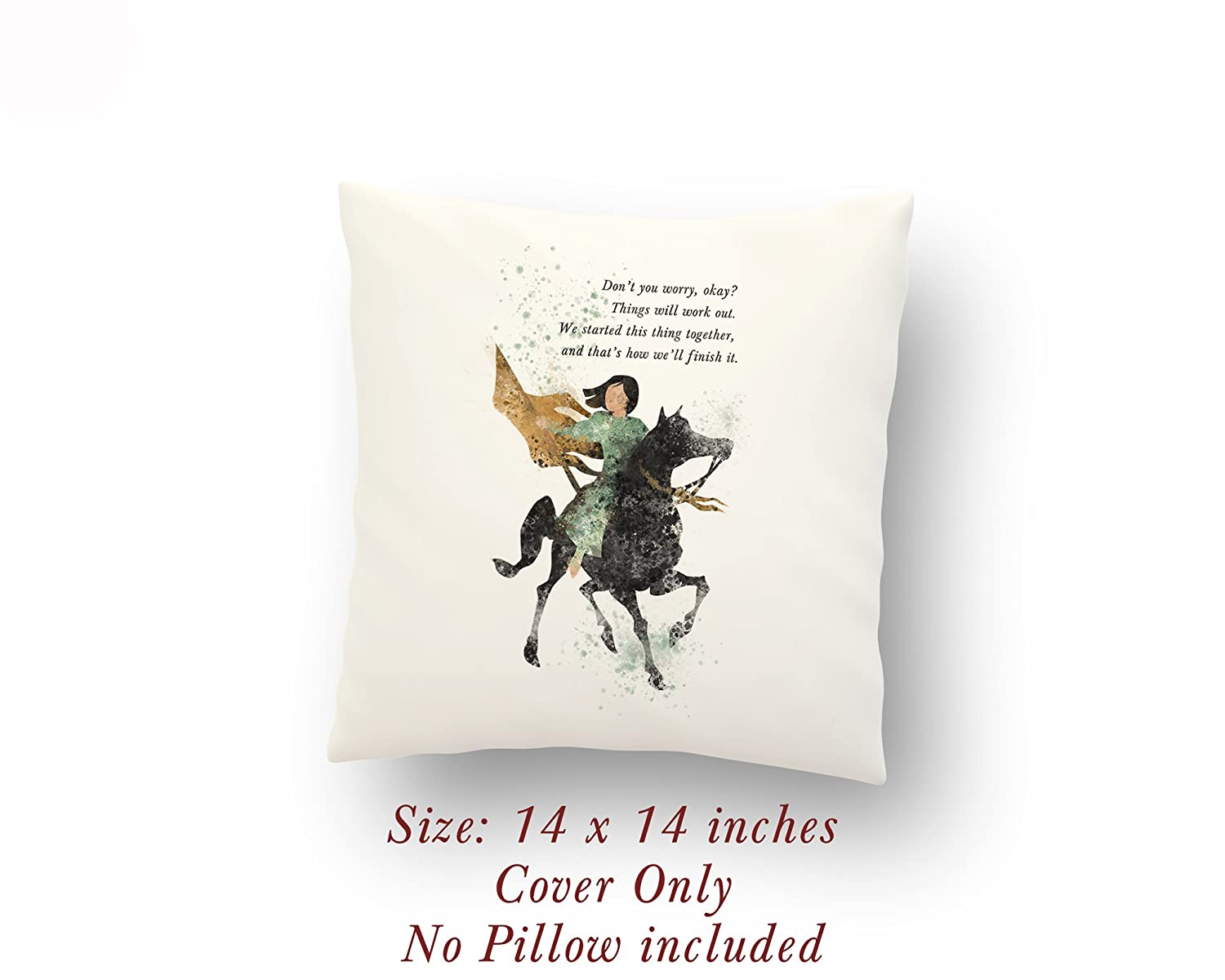 Mulan and Khan Quote 14 x 14 inches Pillow Cover
