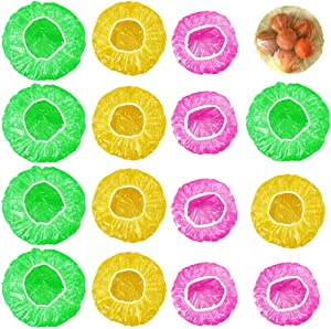 MIZOMOR 120 Pieces Reusable Elastic Food Storage Covers 3 Sizes Plastic Wrap Plate Covers Colorful Bowl Covers Dish Plate Plastic Food Covers for Family Refrigerator Outdoor Picnic