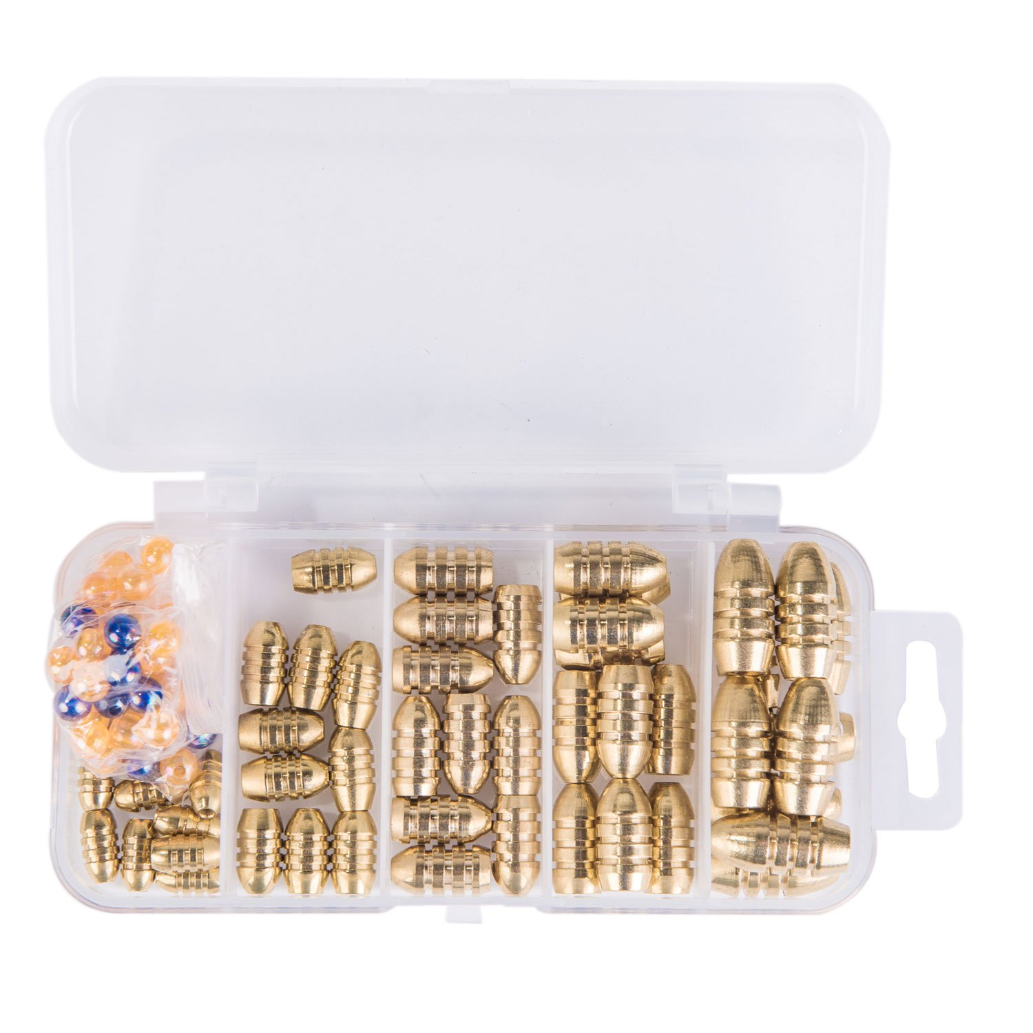 GemanFish Fishing Sinkers Set with Fishing Beads,5 Size Brass Sinker Weights in a Plastic Box for Saltwater Freshwater Trout Bass Salmon Fishing Pack of 100pcs