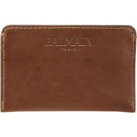 BALMAIN - Cartera para hombre unisex adulto marrón 10×6,5 cm