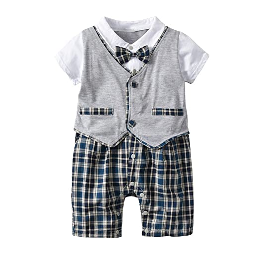 47a4c73984ee 0-18M Newborn Baby Boy Romper Gentleman Jumpsuit Summer Bodysuit Clothes  Clearance Yamally (12
