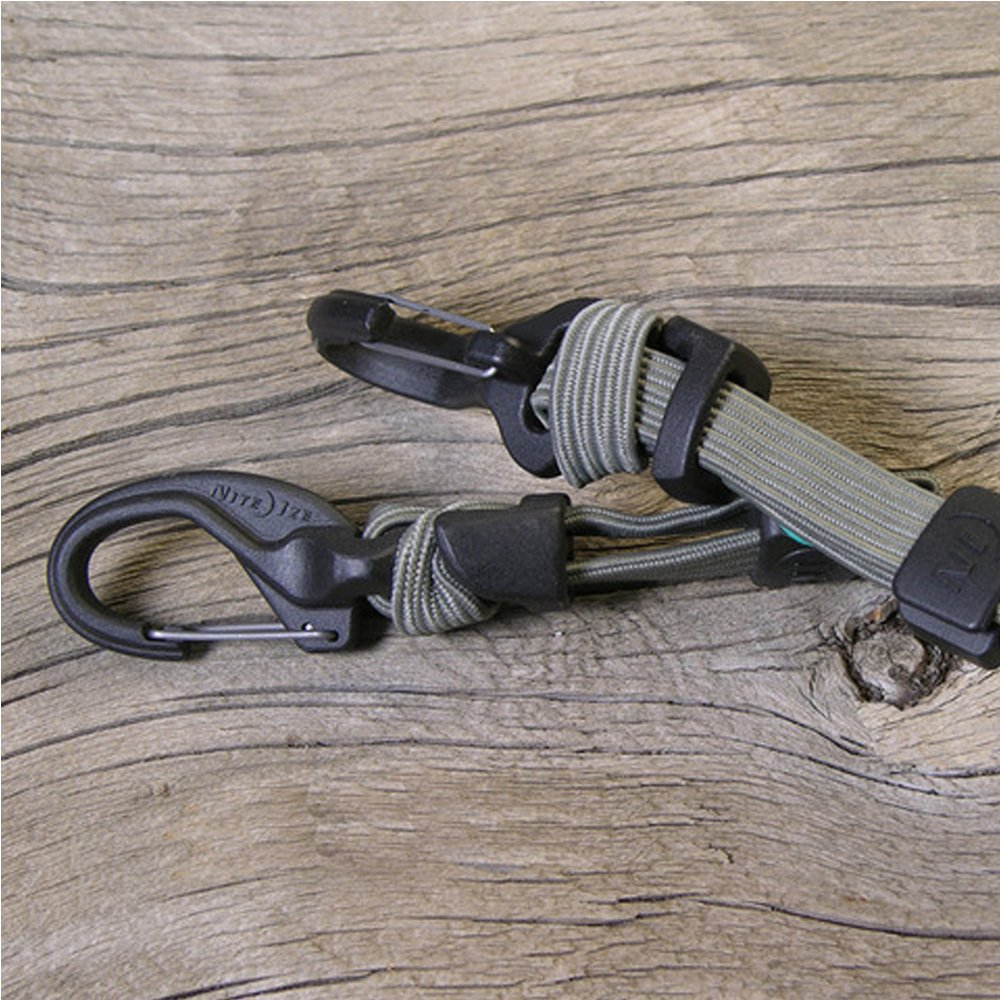 Adjustable Length 6-28 KBB5-03-01 Size #5 Bungee Cord With Carabiner Clip Ends Nite Ize KnotBone Adjustable Bungee Cord Adjustable Length 6-28 Bungee Cord With Carabiner Clip Ends