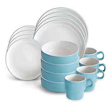 Amazon.com | Baum Stacked 16-Piece Dinnerware Set in Blue ...