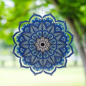 Wind Spinner Yard Art Garden Decor 3D Stainless Steel Metal Sculptures Kinetic Hanging Whirligigs Mandala Decorations Backyard Outside Indoor Outdoor Patio Ornaments Clearance Sun Catcher Windmill