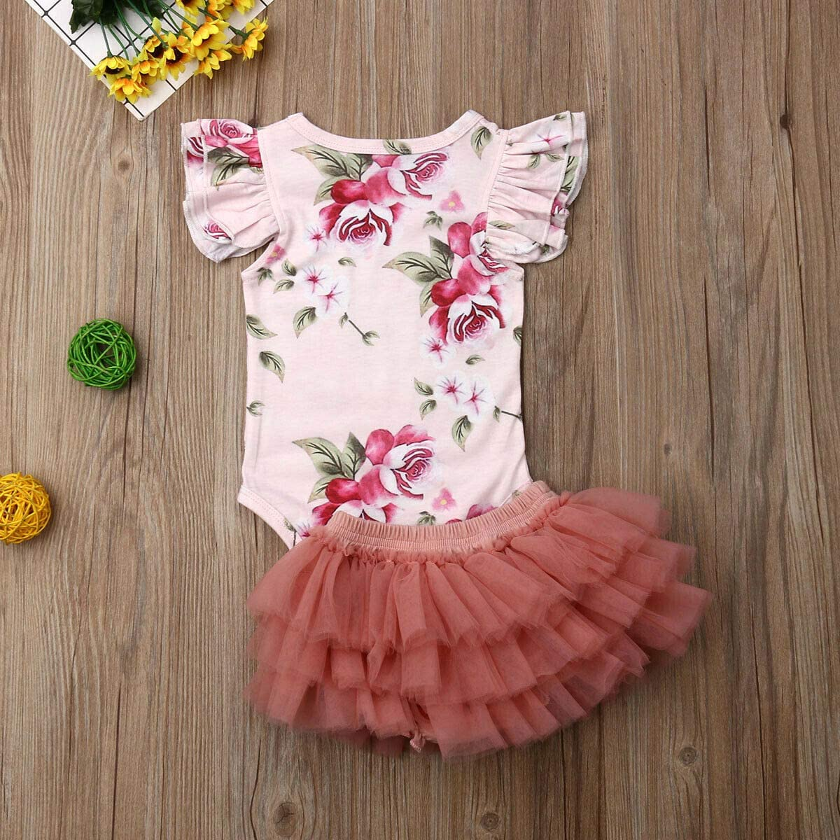 Newborn Baby Girls Two Piece Floral Ruffle Sleeve Romper Tops and Tutu Skirts Set Girls Summer Outfits Set