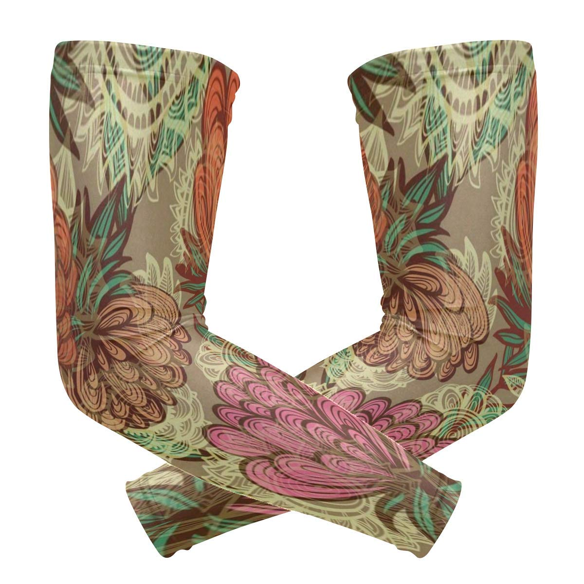 Arm Sleeves Rainforest Flower Mens Sun UV Protection Sleeves Arm Warmers Cool Long Set Covers White