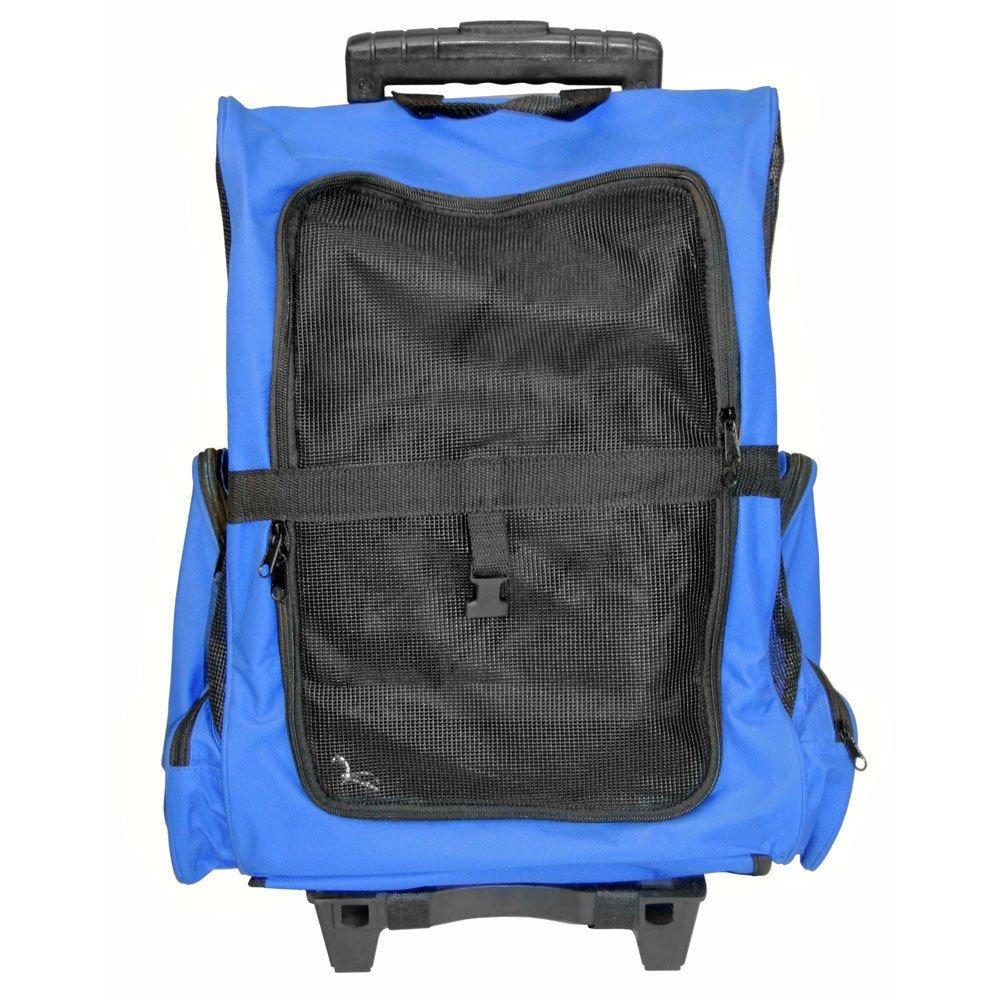 GHP Blue Wheeled Pet Carrier/Back Pack Bag Pet Dog Cat Supplies