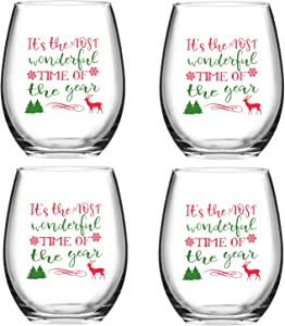 It's the Wonderful Time of the Year Christmas Reindeer Wine Glass, Stemless Wine Glasses for Women Friends Men, Wine Glass for Christmas Wedding Party, Set of 4