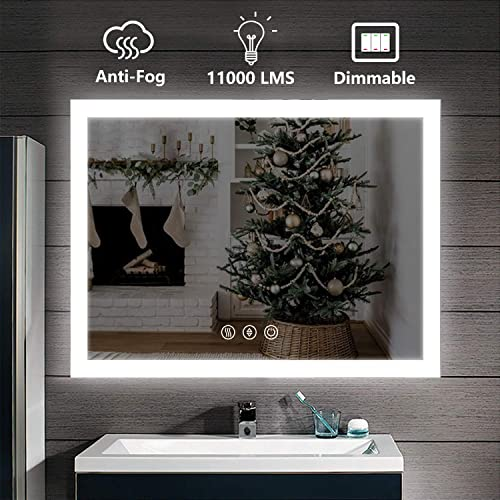 D amour 36X36 Inch Horizontal Vertical Wall Mounted LED Lighted Bathroom Mirror, Led Backlit Mirror with Dimmable Defogger Touch Button, Mirror Lights Color Adjustable, CRI 90, ETL, UL Listed