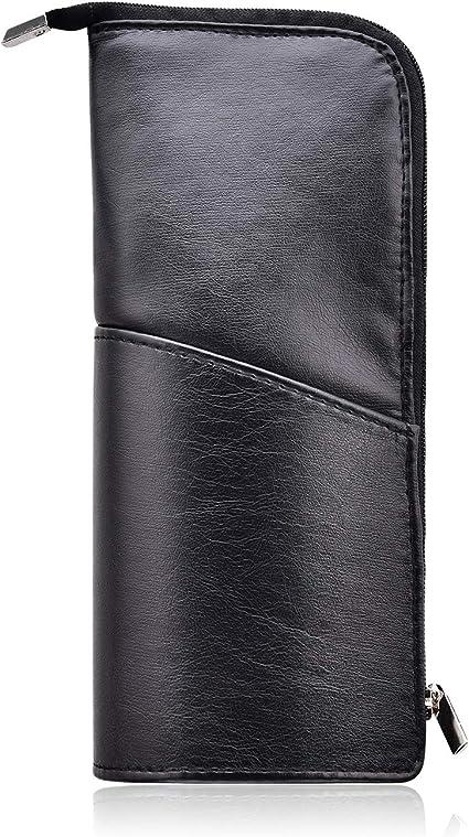 Estuche de piel sintética para lápices, diseño delgado con bolsillo metálico con cremallera para bolígrafo, pincel de maquillaje (negro): Amazon.es: Equipaje