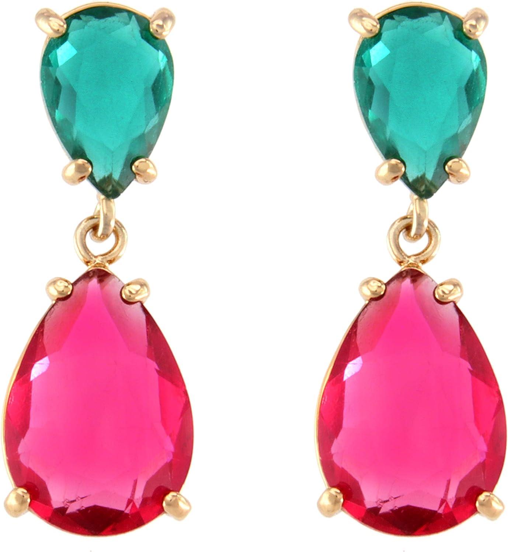 TEMPUS FUGIT. Pendientes Duo para mujer Antialérgicos, con cristales de colores, muy brillantes. Incluye una caja para regalo